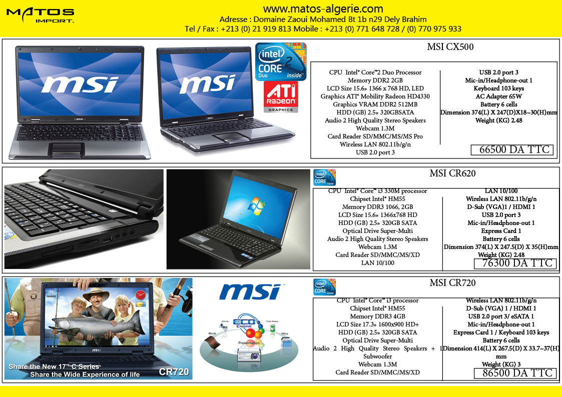 Laptop msi et acer
