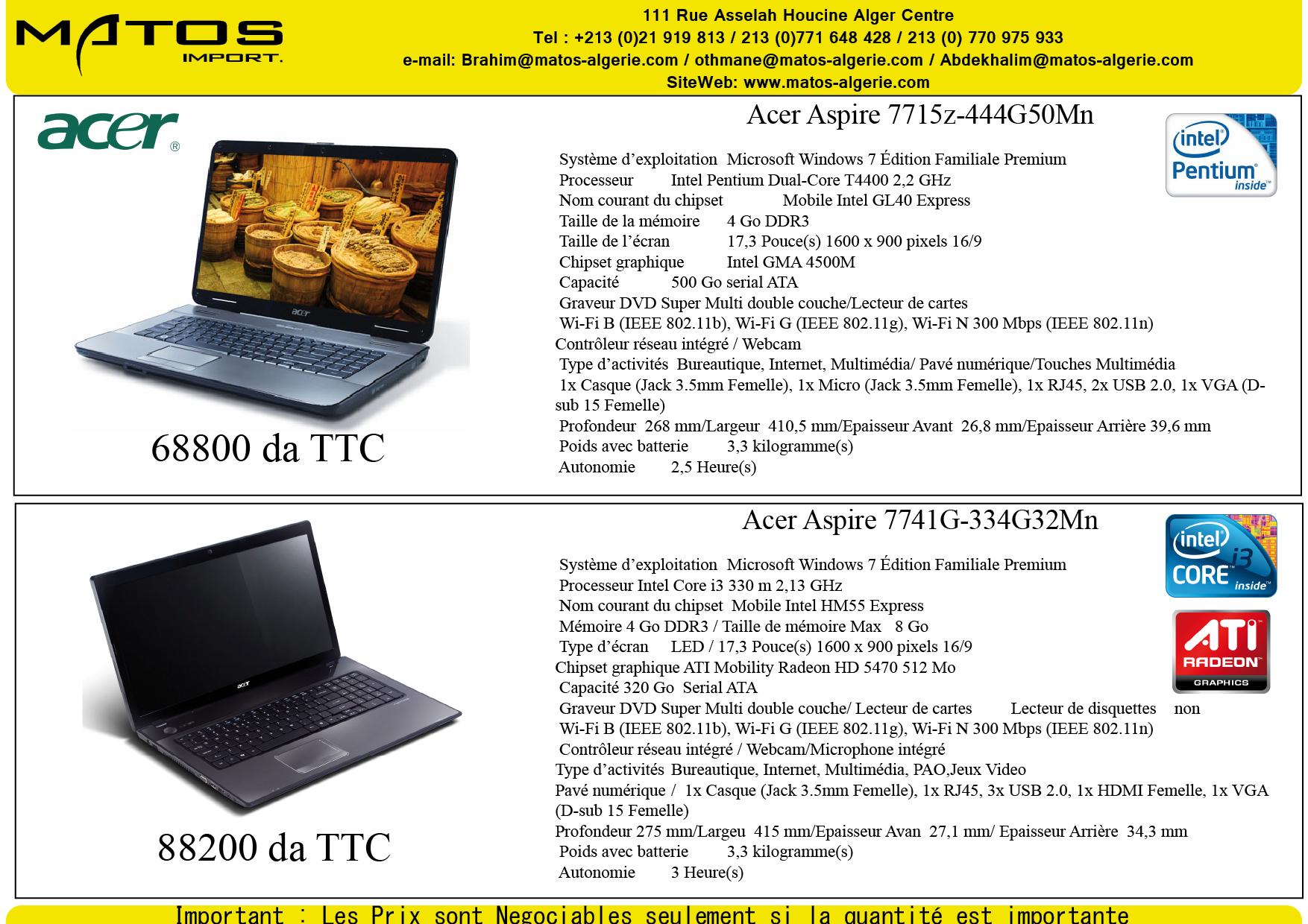 Laptop msi et acer