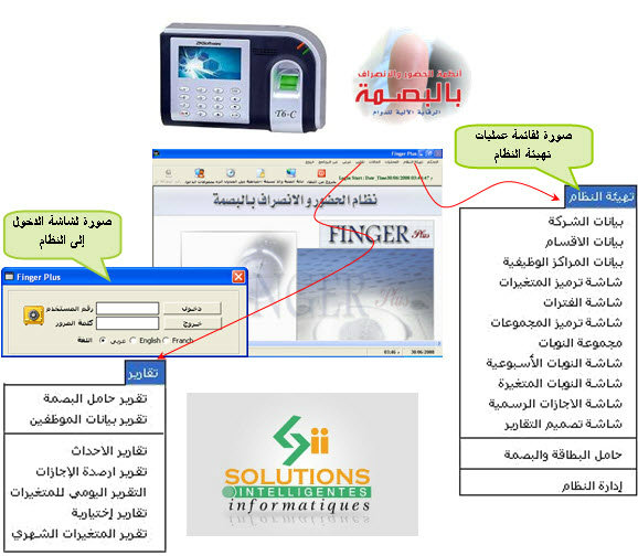 نظام الحضور والانصراف بالبصمة والكارت بثلاث لغات Pointeuse pointage Algérie