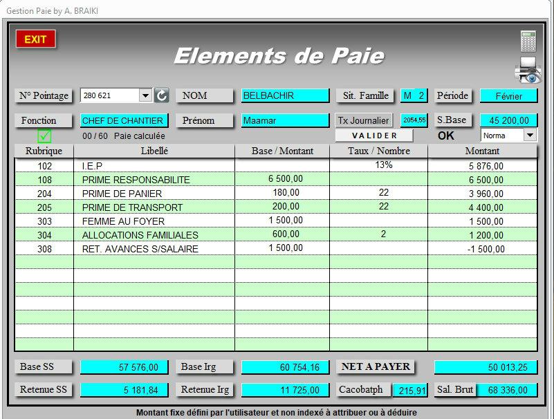Gestion Paie Excel