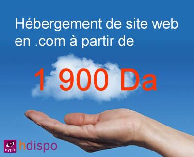 Hébergez votre site web en .com à 1900 Da