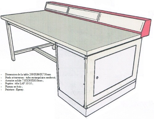 tables pour atelier et laboratoire